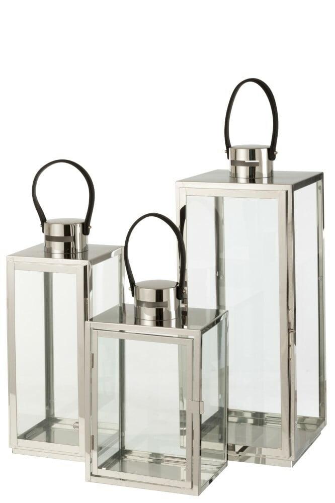 Lanterne haute, métal argenté