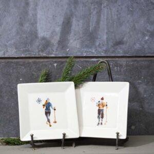 Set de 2 assiettes carrées skieurs
