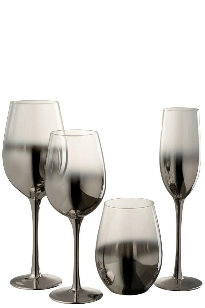 Lot de 4 verres à vin argenté