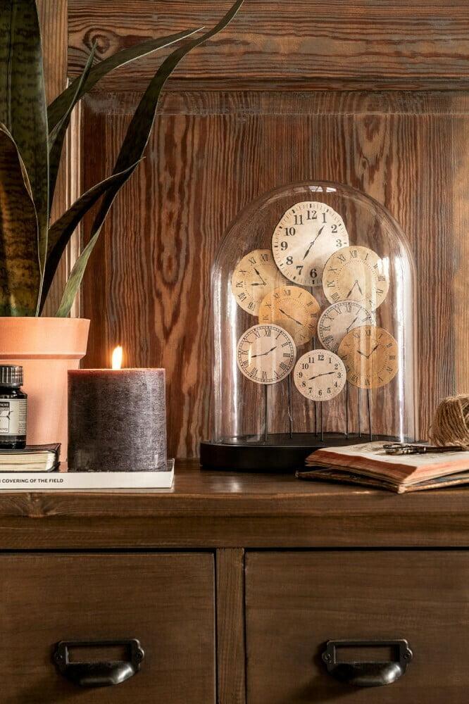 Cloche en verre horloge J-line